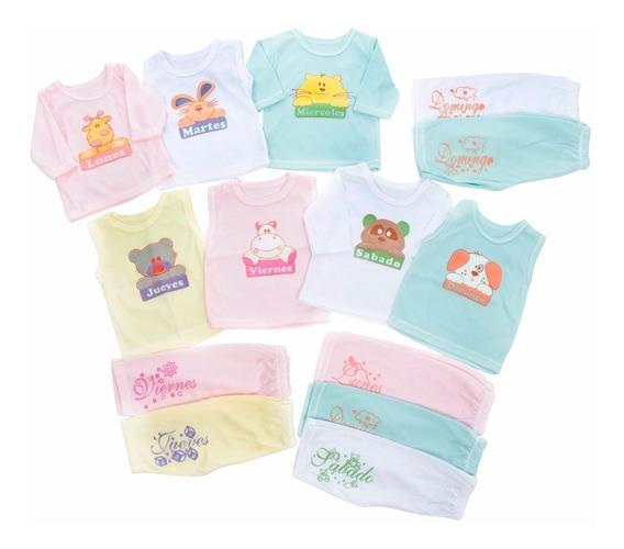 Set Semanario 14 Piezas Para Bebe Niños Multicolor 0-3 Meses