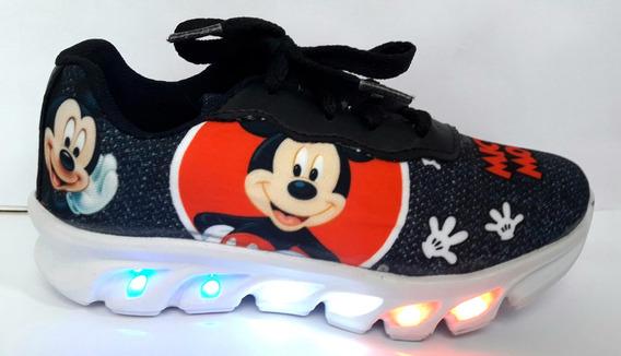 Tênis Sapatenis Bebe Infantil Mickey Com Luzes De Led