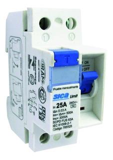 Disyuntor Interruptor Diferencial Bipolar Ac 3ka 2x25a Sica