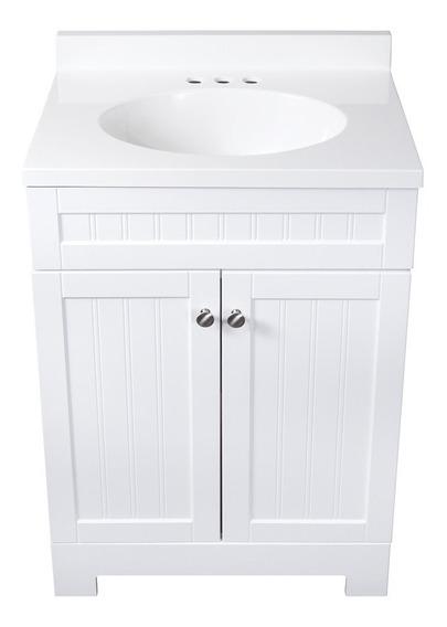Lavabo Marmol De 24.5 Pulg. Con Mueble-tocador Blanco