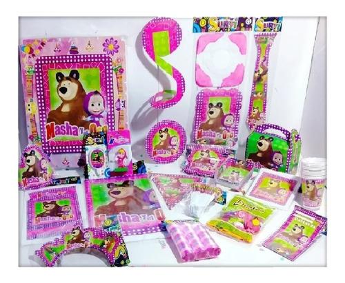 Set Kit Infantil Fiesta Masha Y El Oso Económico 12 Personas