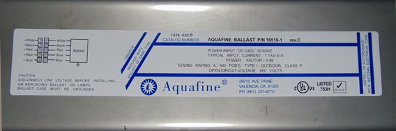 Balastro Electronico Para Lampara Uv Aquafine Modelo 16518-1