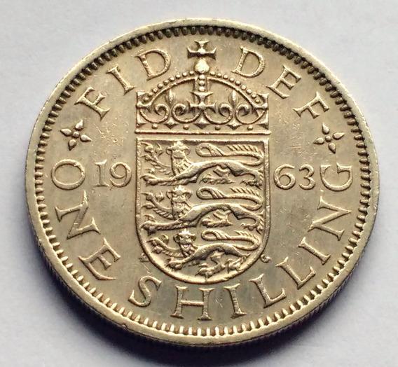 Moneda De Gran Bretaña, 1 Shilling 1963. Escudo Inglés.