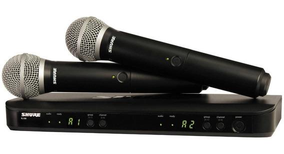 Kit de microfones Shure BLX288/PG58 dinâmico