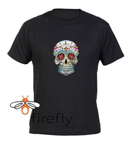 Remera Calavera Mexicana Hombre Negro Coleccion 1 Firefly