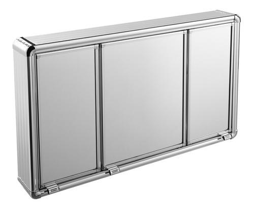 Espelheira Para Banheiro 3 Portas Astra Alumínio Armário