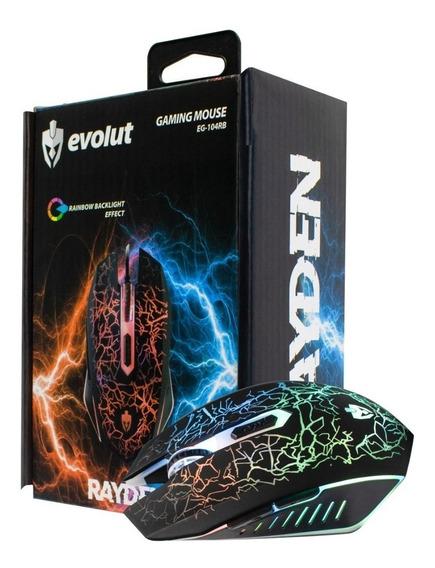 Mouse Gamer Evolut Rayden Eg-104rb 2400 Dpi Rainbow Led Usb