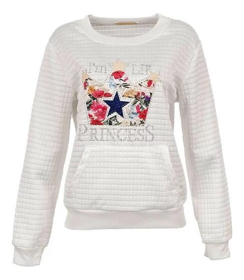 Blusa Frio Moletom Feminina Branco Inverno Promoção