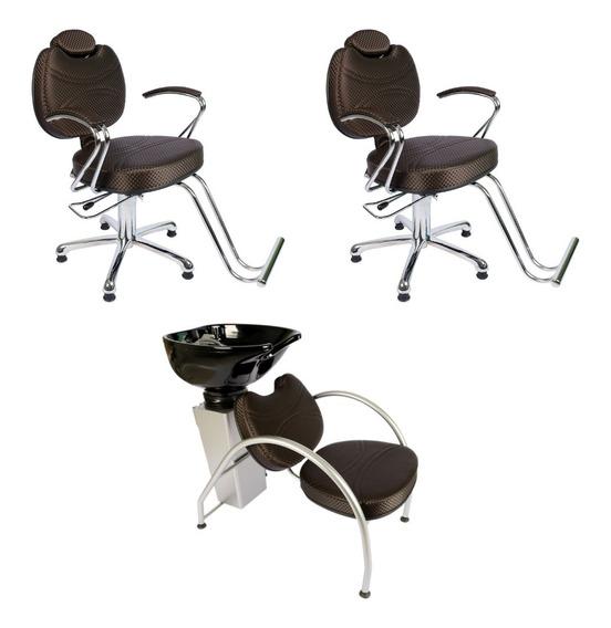 Kit 2 Cadeira 1 Lavatório Fibra Topazio Café 3d 12x S Juros