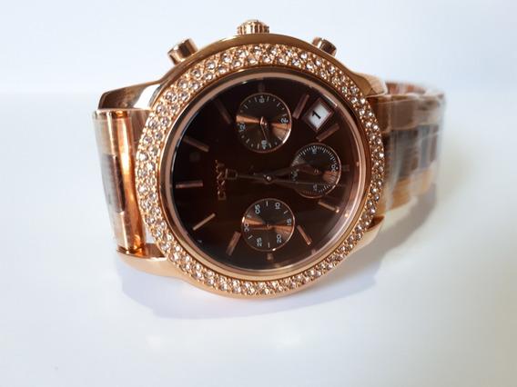 Relógio Original Donna Karan Dkny Dourado Rosé E Brilhantes