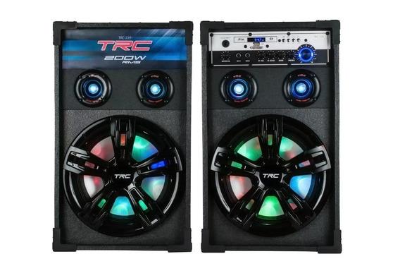 Par Caixa De Som Trc 339 200w Amplificada Usb Sd Bluetooth