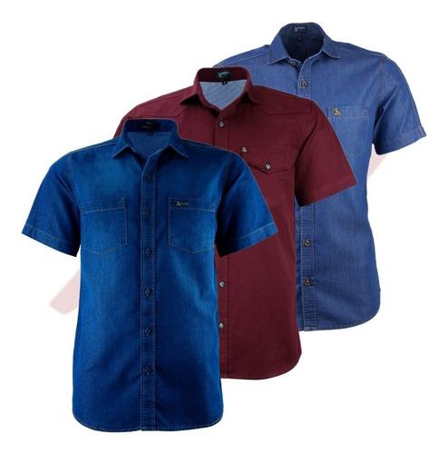 Kit 03 Camisas Masculina Amil Manga Curta 2 Jeans + 1 Brim