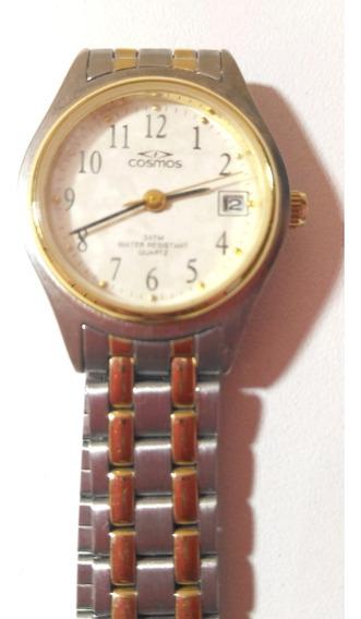 Relógio Feminino Cosmos Quartz Aço Inoxidável Modelo Antigo