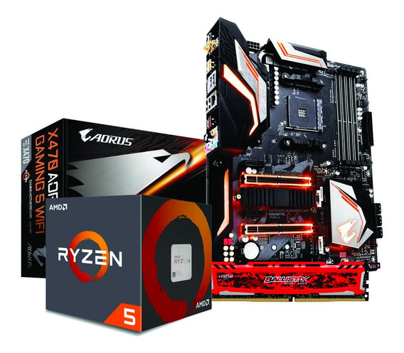 Kit Ryzen 5 2600x X470 Aorus Gaming 5 Wi-fi 8gb Ballistix