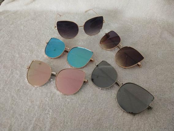 3 Óculos De Sol Espelhado Gatinho Feminino Oferta Promoção