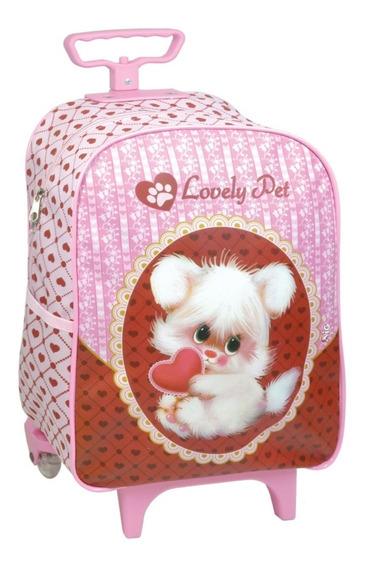 Mochila Infantil Com Rodinhas Pequena Lovely Pet Rosa 6861