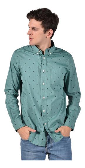 Camisa Stretch Fit Chaps Verde 750722999-33eq Hombre