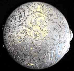 Poseira Antiga Prata De Lei 925 Desenhos De Flores Gravados
