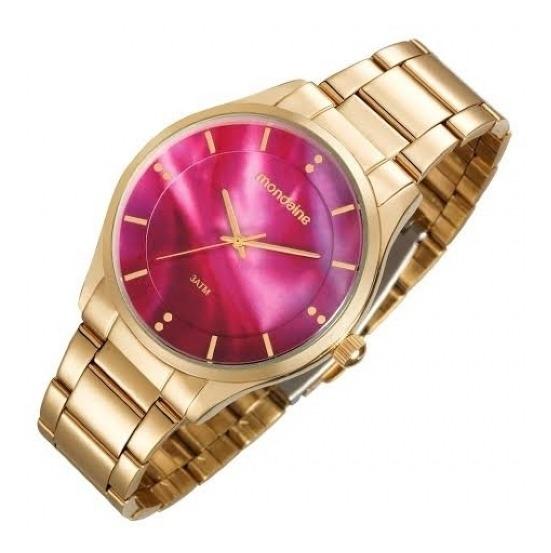 Relógio Mondaine Feminino Fashion Dourado 99089lpmvde1 Rosa