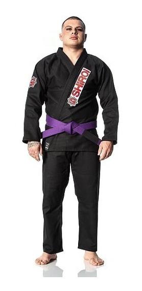 Kimono Jiu Jitsu Trançado Branco Azul Preto Level One Shiroi