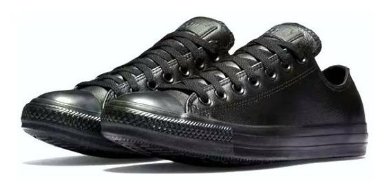 Zapatillas Converse Low De Cuero Negro Tallas 38 Y 39