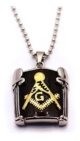 Masonico Intercambio Negro Y Dorado Collar Con Colgante Dobl
