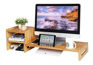 Songmics Bamboo Monitor Stand Riser Laptop Telefono Celular