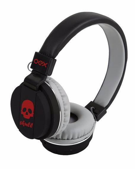 Headphone Skull Ajustavel Microfone Vermelho Hp101 Oex
