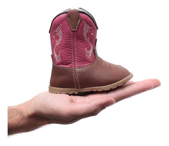 Bota Texana Infantil Bebê Feminina Em Couro Legítimo Rosa Macia Leve Com Zíper Lateral Para Facilitar O Calce