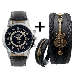 Relógio Masculino Feminino + Pulseira De Couro Com Pingente