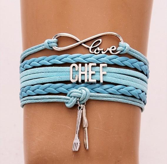 Brazalete Pulsera Infinito Chef Azul Claro