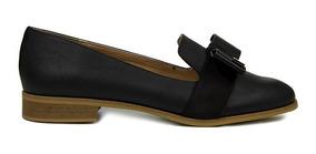 Trender Flats Estilo Mocasin De Piel Color Negro