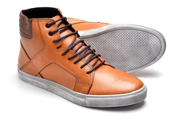 Sapatênis Sapato Coturno 5802 Cano Medio Adventure Masculino Couro Legítimo Nobre Soft Cano Alto Urbano Casual Social