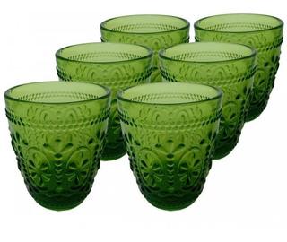 Set X 6 De Vasos En Vidrio Labrado De Colores Oferta