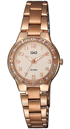 Reloj Q&q Mujer Acero Oro Rosa Casual Pulsera Original Q Q