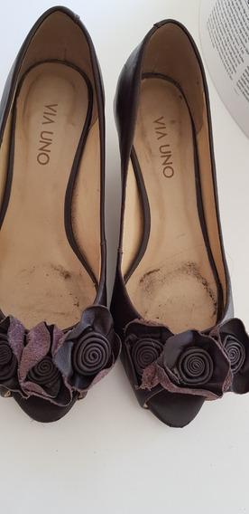 Zapatos Via Uno Marrones 36 Poco Uso ¡oportunidad!