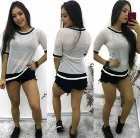 4fd793c9da Maxi Blusa Tela Arrastão Feminina Blogueiras Listras Verão