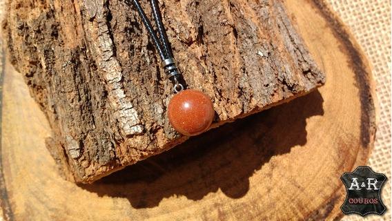 Colar Pedra Do Sol Natural Esfera Com Fecho Fixo Pse-07