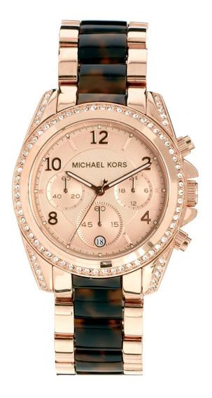 Relógio Luxo Michael Kors Mk5859 Orig Chron Anal Tortoise