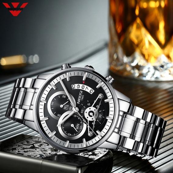 Relógio Nibosi Masculino Original Promoção Aço Inox + Caixa