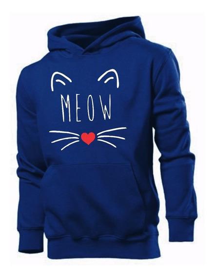 Moletom Casaco Feminino Blusa De Frio Gatinho Meow Gato
