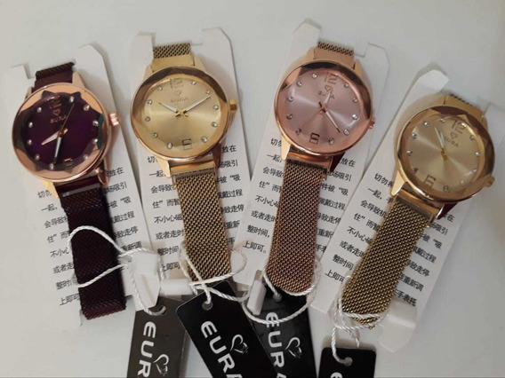 Kit Com 5 Relógios Feminino Pulseira Imã Atacado Revenda