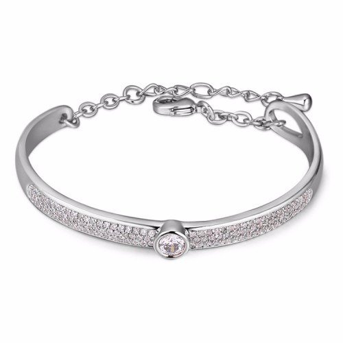 Rhodium Plated Bangle With Crystals