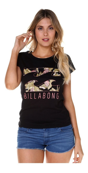Remera M/c Billabong Palms Waves Tee Black Mujer 12107013