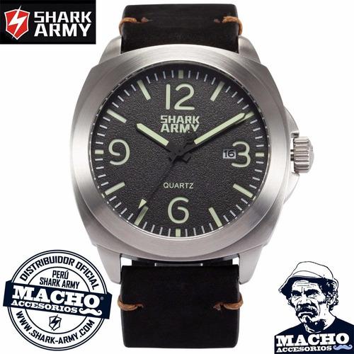 Reloj Shark Army Lumin Seal - Acuatico Acero Cuero Colores