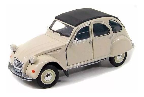 Auto Metalico De Coleccion Citroen 2cv 1:24 By Welly 15 Cm