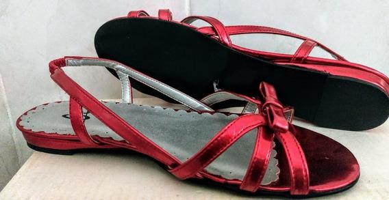 Sandalia De Tiras Metalizadas