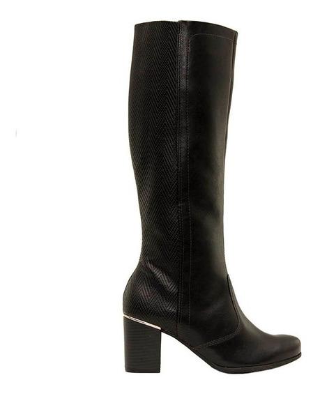 Botas Caña Alta Mujer Cuero Combinado Negra Ramarim