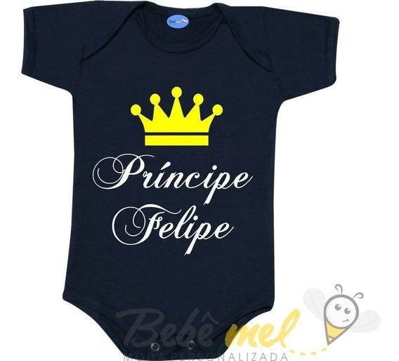 Body De Príncipe Com O Nome Personalizado Roupa Para Bebê