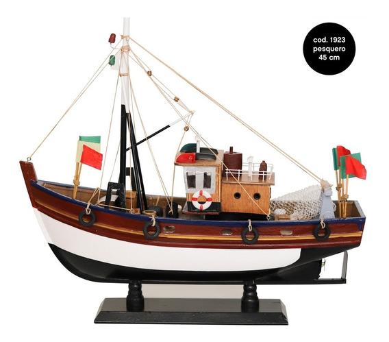 Pesquero Decorativo Barco De Madera Escala Colección 45 Cm